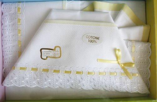 Set 3 pz lenzuolini per neonati carrozzina con tela aida da ricamare