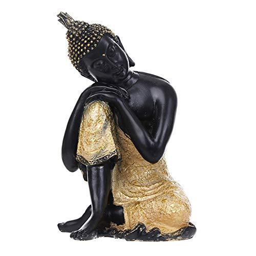 LFA Thai Buddha Statue Schlafender Buddha Harz Handwerk Ornamente Südostasiatischen Stil Kreative Einrichtungsgegenstände,Black-OneSize