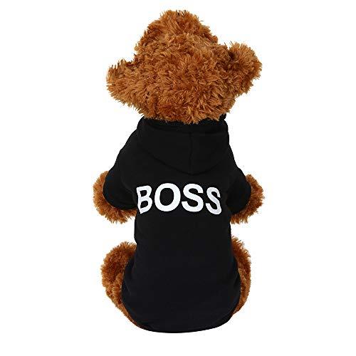 (Fenverk Hund Haustier Kleider T-Shirt Kapuzenpullover Stricken Jumper Warm Vlies HüNdchen Mantel Bekleidung Zum Gehen Joggen Wasserdicht(Schwarz,S))