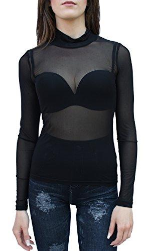 Muse - Camiseta transparente para mujer, manga larga, de tul negro 38