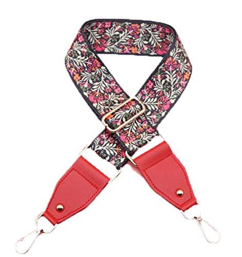 Canvas Bag Strap Women's Fashion Belt for Bag Adjust Handles for Handbags Flower Design Gold Buckle Shoulder Strap Q0116 Red Gold Buckle