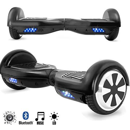 Magic Vida Skateboard Électrique Noir 6.5 Pouces avec Bluetooth LED Puissance 700W Auto-Équilibrage pour Enfants et Adultes Gyropode Haut-Parleur de Bonne qual