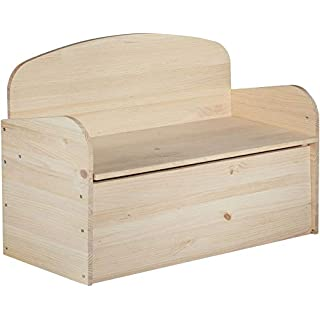 Astigarraga Solid Pine Chest Bench without Varnish, 90 x 62 x 38 cm