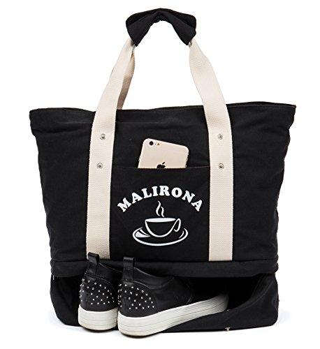 Malirona Sacchetto di Tote Grande di Borsa di Tote da Spiaggia 2-in-1 con il sacchetto di spiaggia della tela di canapa dell'organizzatore di pattini Nero