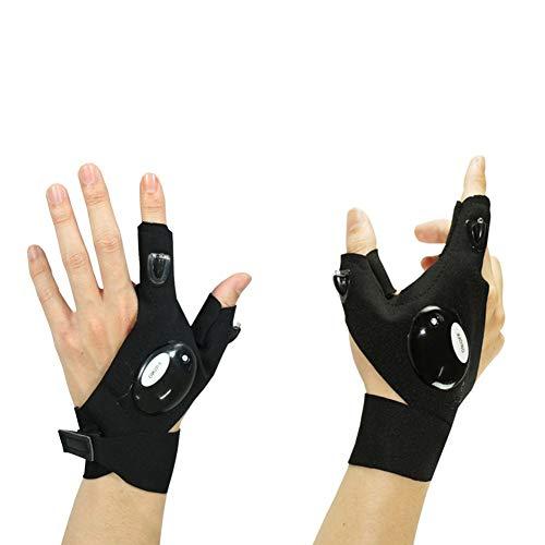 Dark Kostüm Link - Aoxlife Kühle Anti-Rutsch-Half Fingerless LED Taschenlampe Handschuh Outdoor Angeln Handschuhe für die Reparatur von Autos Nachtlauf Angeln Camping Wandern in Dark Place,Left+Right