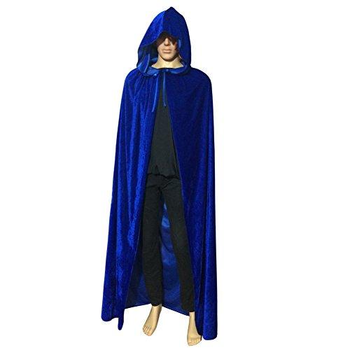 Imagen de moresave–vampiro disfraz de halloween capa con capucha capa de terciopelo larga unisex boda bruja, terciopelo, azul, mediano