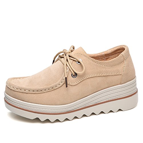 Lakerom Damen Slip On Loafers Plattform Komfort Wildleder Mokassins Breit Low Top Wedge Schuhe Arbeitsschuhe LRWO0089-Tan-42 - Tan Leder-plattform