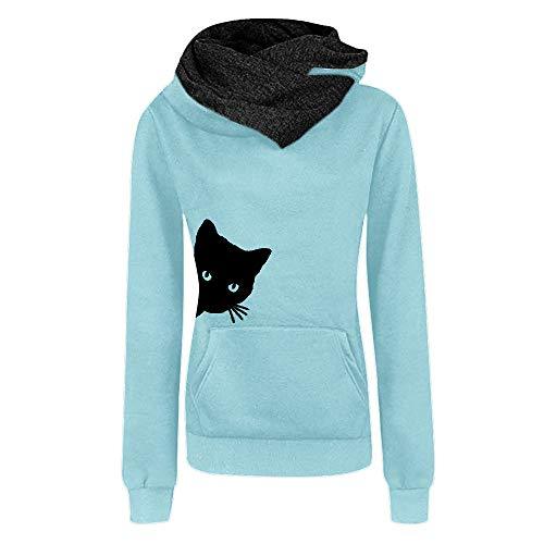 iYmitz Damen Herbst und Winter Beiläufig Hoodies Farbe Sweatshirt Reiner Blusen-Pulloveruff08Hellblauuff0cXLuff09