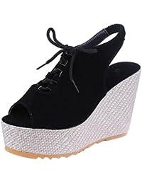 Women Martin Boots Shoes, SOMESUN Signore delle donne morbido piatto caviglia Martin scarpe femminili Suede Flock Lace-Up Boots (42, giallo)