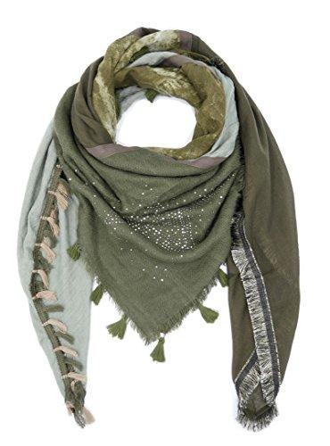 Dreieckstuch mit Stern Print und kleinen Glitzer Nieten Karo Camouflage Quaste Fransen Strick Schal Tuch (8506) (Grün)