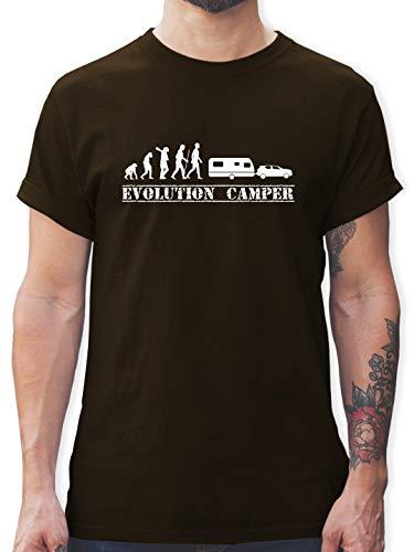 Evolution - Evolution Wohnwagen weiß - XL - Braun - L190 - Herren T-Shirt und Männer Tshirt