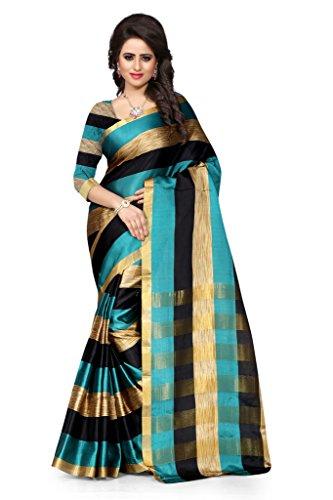 Shree Sanskruti Women's Tassar Silk Saree (Aura Rama Black Leriya_Rama Green and Black)
