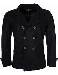 60eee0e90209 Young   Rich Herren Kurz Mantel Zweireiher Jacke Übergangsjacke Kurzmantel  mit doppelter Knpfleiste schwarz 4949 slimfit