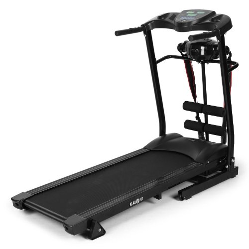 Klarfit Treado Advanced Laufband Heimtrainer (Bandmassagegerät, Sit-up-Bank, Handpulsmesser, Trainingscomputer, zusammenklappbar, platzsparend)