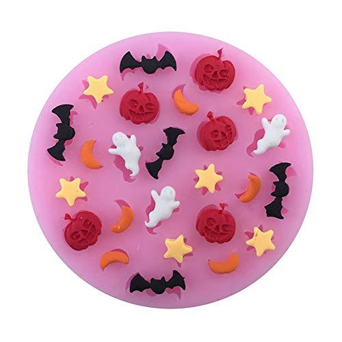 Zhouba citrouille d'Halloween Ghost Batte en silicone DIY gâteau Fondant biscuit Moule Outil de cuisson rose