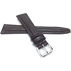 20mm, Womens', Brown Lizard Style, Genuine Leather Watch Band Strap, Glossy Finish, Also Comes in Black, Tan and Blue