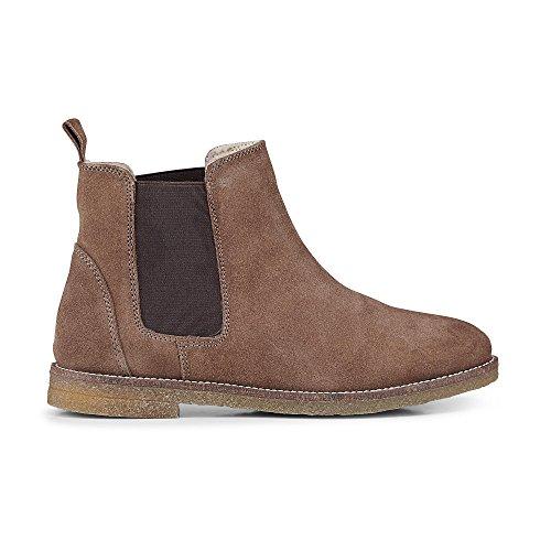 Cox Damen Damen Winter Chelsea Boots aus Veloursleder, braune Stiefeletten mit flachem Absatz Braun Rauleder 37
