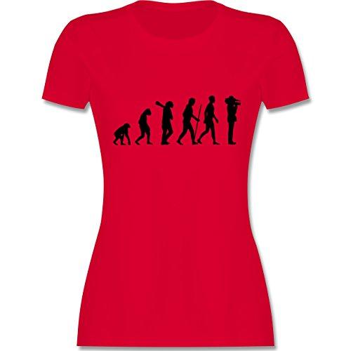 Evolution - Kameramann Evolution - tailliertes Premium T-Shirt mit Rundhalsausschnitt für Damen Rot