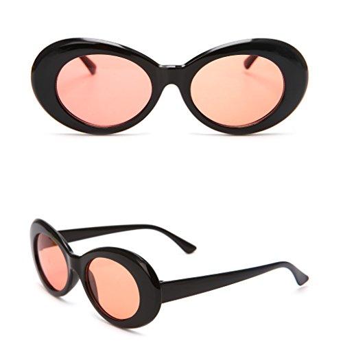 jiamins Vintage Sonnenbrille UV400Für Damen Herren, Outdoor Sports Eyewear Sonnenbrille Brillen Fashion Shades Ovaler Rahmen mit Rund Objektiv 52mm, plastik, Black+ Transparent Red, 4.33