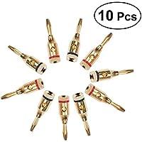 UEETEK 5 pares de 4 mm 24 K chapado en oro de tipo tornillo abierto conectores banana para altavoz (negro y rojo)