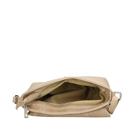 Chicca Borse Clutch Borsetta a Spalla da Donna in Vera Pelle Made in Italy - 27x24x7 Cm Fango