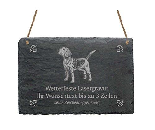 Schiefertafel « BEAGLE » IHR TEXT + MOTIV - 22 x 16 cm - Schild mit Hund Beagle