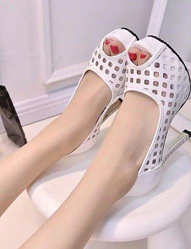 GS~LY Damen-High Heels-Kleid-Lackleder-Blockabsatz-Absätze-Schwarz / Weiß black-us6.5-7 / eu37 / uk4.5-5 / cn37