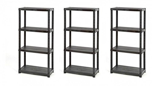3 Stück Lagerregal, Kunststoffregal in Schwarz. Maße BxTxH pro Regal: 61 x 30,5 x 130 cm.