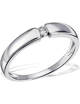 Goldmaid Damen-Ring Trauring, Freundschaftsring, Verlobung 925 Sterlingsilber 1 Brillant SI/H 0,07 ct.