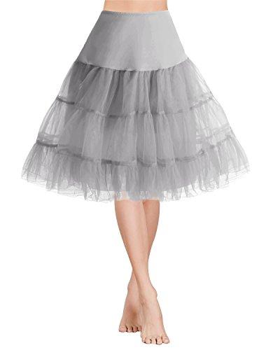 Gardenwed Tütü Damen Rock Weihnachten Partykleid 1950 Petticoat Vintage Retro Reifrock Unterrock Grey M