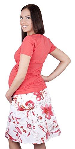 Mija - Jupe élégante de maternité et de grossesse avec des fleurs 1044 pink