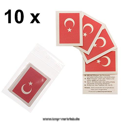 10 x Türkei Tattoo Fan Fahnen Set - Turkey temporary tattoo Flag (10) (Tattoo Fahne)