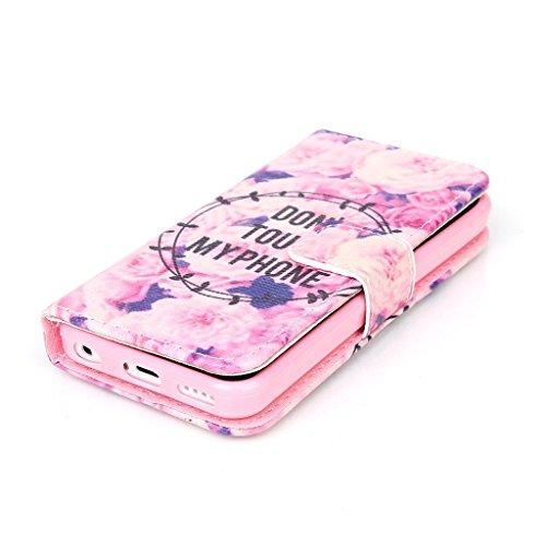 Dokpav® iPhone 5C Coque,Ultra Slim Mince Flip PU Cuir Housse Etui Case Cover Avec Intérieur Slip poches pour les cartes- Cerfs vagues bleues Ne touchez pas mon téléphone