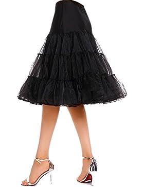 AMORETU Mujer Adultos Cortas Tutu Falda Cintura Elástica Tul Enaguas Ballet Vintage Retro Negro