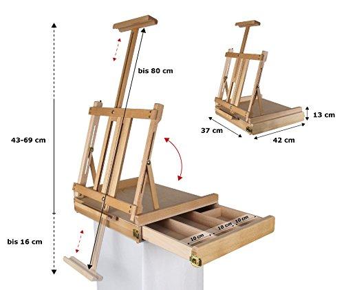 Meister Professionelle Tischstaffelei aus Buchenholz FSC, für Keilrahmen bis 80cm, Qualität vom Fachhändler, Sitzstaffelei