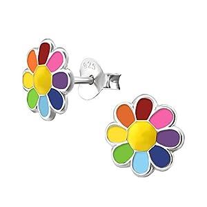 Laimons Mädchen Kids Kinder-Ohrstecker Ohrringe Kinderschmuck Gänseblume Blume Blüte Pflanze Bunt Regenbogenfarben 8mm aus Sterling Silber 925