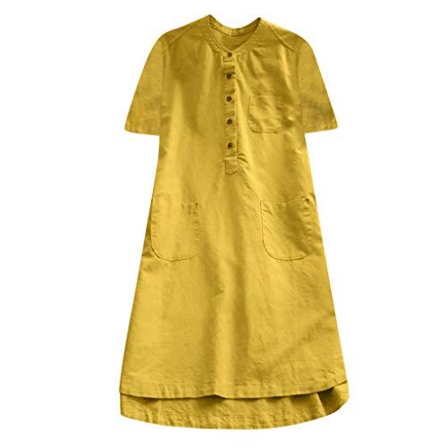 (Lucky Mall Frauen Beiläufige Knopf Plus Größen Bluse, Splice Baumwollhemd)