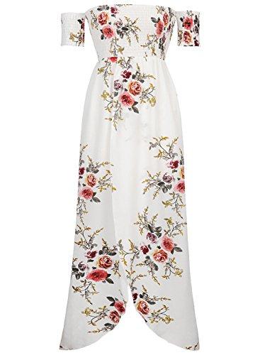 Futurino Damen Trägerloses Büste Vorne Kreuz Maxi Strand Kleid Weiß