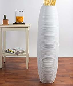 Leewadee Grand Vase Décoratif 90 cm, Bois du manguier, Blanc
