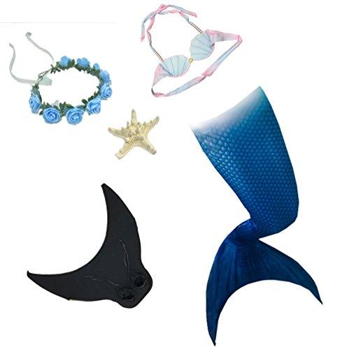 YIAIY Mädchen Meerjungfrau Kostüm, Hochwertige Prinzessin Schwanz Badeanzug Badeanzug Set High Stretch Full Set Für Strand/Pool/Party,Blue,115CM (Full Schwimmen Kostüm Mädchen)
