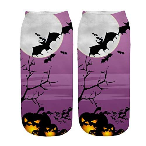 Skxinn Unisex Winter Sportsocken,Halloween Pumpkin Bedruckte Kurze Socken/Lässige Niedliche Söckchen für Frauen,Weihnachtsdruck 3D Socken(Z01-C)