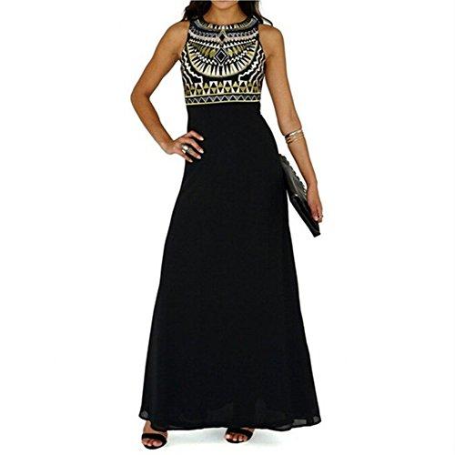 WintCO Vestido largo de verano Con estilo Nepal Sin manga Negro Barato En buena calidad