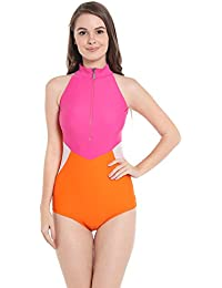Nidhi Munim Women's Candy Colorblock Pink And Orange Tri Color Swimsuit