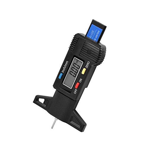 SHUOGOU Digital con LCD de Pantalla Digital de la Profundidad del Neumático Probador del Calibrador, Coche Digital Medidor de Profundidad del Dibujo de Coche--(negro)