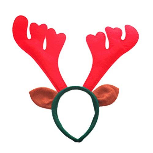 Toyvian 6 stücke Weihnachten Stirnband Rentier Geweih Haarband Christmas Party Kostüm Haarschmuck (Rot)