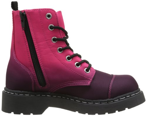 T.U.K. Anarchic Combat, Boots femme Rouge (Burgundy Pink Print 7 Eye)