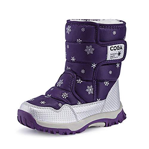 SITAILE Kinderschuhe Mädchen Schuhe Winter Outdoor Warm Schneestiefel Winterstiefel Gefüttert Stiefel Stiefeletten Boots für Jungen Mädchen Unisex Kinder,03-lila,eu27