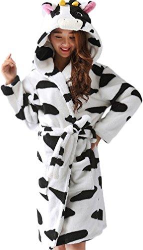 FLYCHEN Damen Polyester Schlafanzug Hoodie Cartoon Bademantel einteilige Robe Kuh L