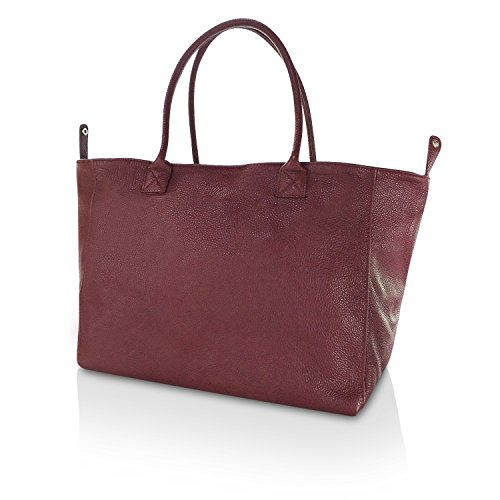 Gloop Klassisch Elegant Damen Echtleder Handtasche Umhängetaschen Schultertasche Made in Italy 1.005.4 Dunkel Rot