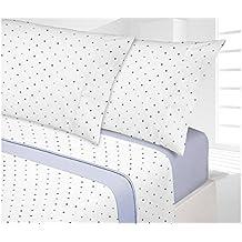 Manterol.- Juego de sábanas Topos Azul para cama de 90 cm 3 piezas